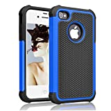iPhone 4s Case, Akimoom [Jade Series] Rugged PC and Silicone Trendy Defender Nonslip Shock Proof Heavy Duty Hybrid Dual Layer Protective Cover for iPhone 4 /4s(Black/Blue)