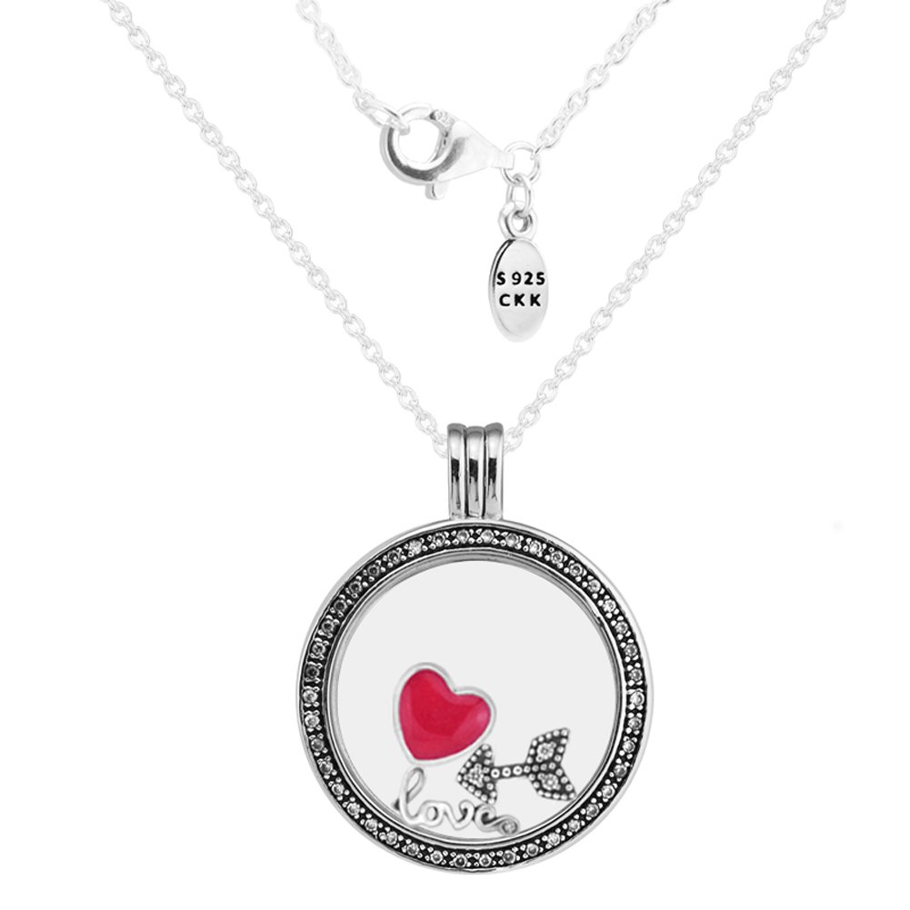 CKK 925 Sterling Silver Large Round Glass Crystal Memory Floating Charms Locket Pendant Necklace with Love Feelings Petites Magenta Enamel for Women Teen Girls Jewelry Making Halloween Jewelry