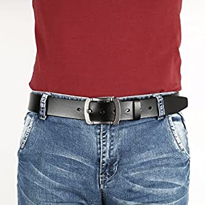 Men's Belt, Sunzel Cow Leather Belt Men With Anti-Scratch Buckle, perfect for Business Dress and Casual Jeans