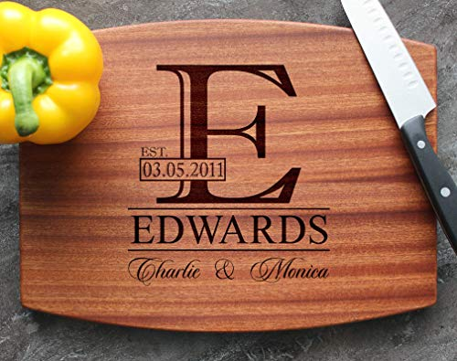 Personalized Engraved Custom Cutting Board - Walnut, Sapele or Maple - Elegant Bold Name Monogram Letter For Wedding Holidays Celebration Gift - Handle + Stainless Steel Display Stand Available #88