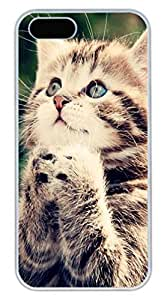 iPhone 5 5S Case Pray In A Lovely Cat 1 Funny Lovely Best Cool Customize iPhone 5S Cover White
