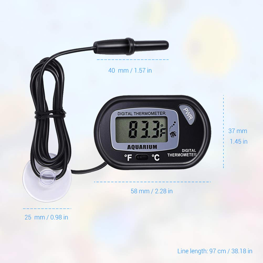 Bweele Termometro per acquari termometro per Acqua Digitale Impermeabile con Ventosa per la misurazione della Temperatura dellAcqua dellacquario per la Temperatura Marina dellacquario