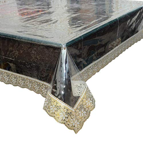 Durable Stylish Plastic Table Cover,Reusable,Disposable,Easy Clean,Dust Proof, Waterproof,Crystal Clear PVC Genuine Tablecloth Protector (52-Inch x 70-Inch, Attractive Golden Lace)