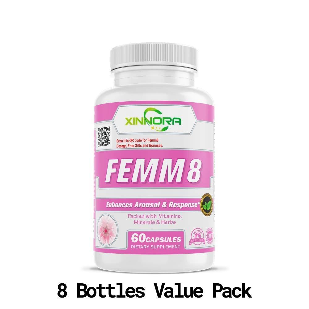 XINNORA Femm8 - Natural Female Sexual Enhancement & Libido Supplement for Women - Enhances Arousal & Response, Increases Stamina & Energy, Boosts Sex Drive, Better Sexual Health - 60 Caps x 8 BTL