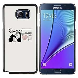 Stuss Case / Funda Carcasa protectora - Notas de la música del amor del corazón de la muchacha Art Pen - Samsung Galaxy Note 5