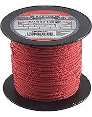 Connex Metselaarsnoer rood - 100 m lengte - Ø 1,7 mm - gevlochten polypropyleen - knoopvast - scheurvast & belastbaar - op spoel/richtsnoer/bouwsnoer/loodsnoer/straatsnoer / COX781547