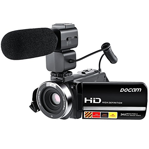 Video Camcorder,DOCAM HD 1080P 24.0MP Digital Camera with External Microphone Night Vision HDMI by DOCAM