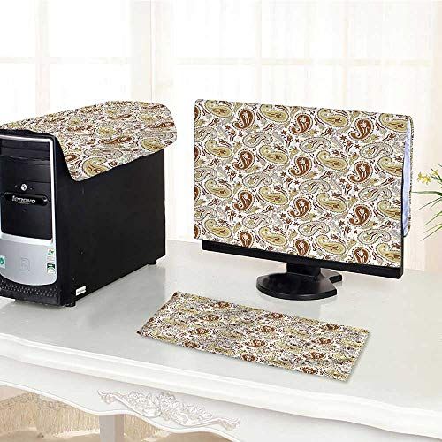 (Computer dustproof Three-Piece Floral Patterns with Paisley and Tulips Persian Style Hippie Art White Chocolate Umber for LED LCD Screens Flat Panel HD Display /22