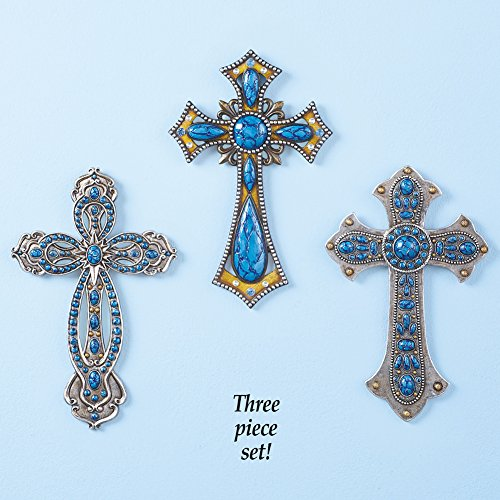 Western Turquoise Wall Cross - Set of 3
