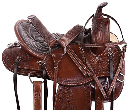 (AceRugs Horse Saddle Western Pleasure Trail Horse TACK Premium Leather Tooled Headstall Breastplate REINS (Brown, 18))