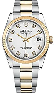 Rolex Datejust 36 Luxury Watch White Dial With Diamond Hour Markers on Oyster Bracelet