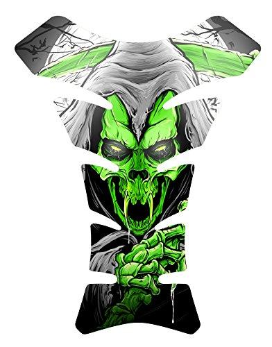 Size is 8.5 in tall x 6.5 in wide Vampire Grim Reaper Skull Green Gel Motorcycle Sportbike 3D Gel Gas Tankpad Motorcycle TanK pad Decal Sticker ()