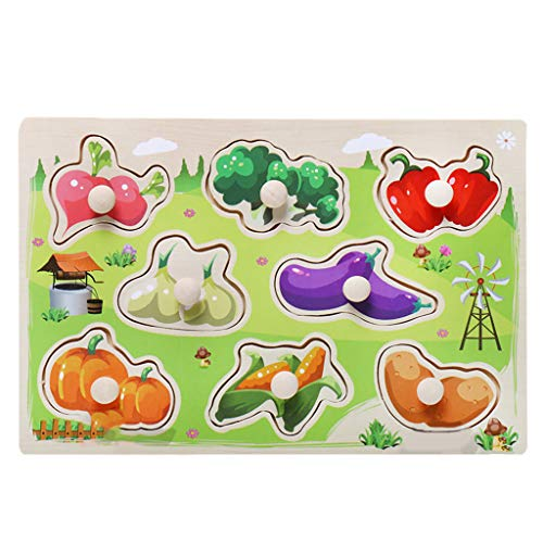 Nivalkid Children's Puzzle Grasp Board Jigsaw Puzzle Educational Toy Environmentally Friendly Wooden Cartoon Animal Letters Children Early Education Puzzle Cognitive Puzzle (H)]()