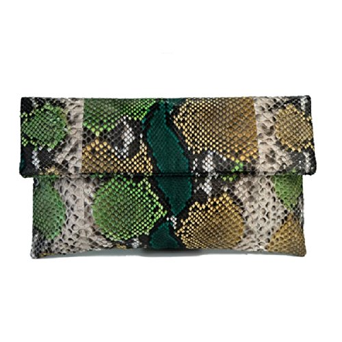 Genuine Forest Motif Python Leather Classic Foldover Clutch Bag by Urban Story