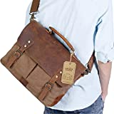 "Lifewit Genuine Leather Vintage 15.6"" Laptop Canvas Messenger Satchel Bag (Coffee)"