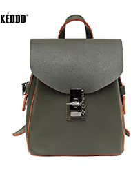 Khaki Style Vegan Leather Waterproof Backpack for Woman. Eco Casual School/College/University/Office Rucksack