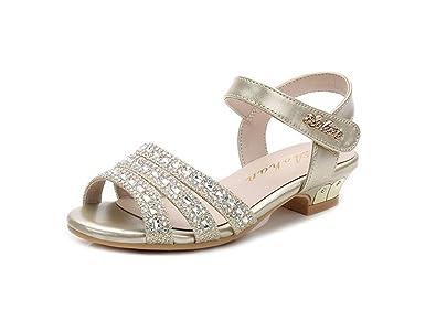 56b27145419d Always Pretty Little Girls Open Toe Pumps Toddler Girl Sandals Dress Shoes  Gold 1 M US