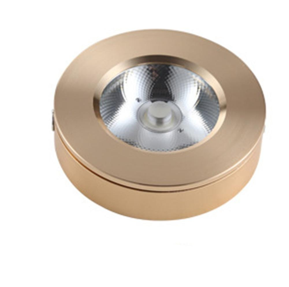 Aluminum Slim Light Bulb Display Cabinet Led Downlight Wine Cabinet Cob 3W / 5W / 7W / 9W / 15W Ceiling Light-Free Mini-Condenser Counter Lamp, Gold, 7W White Light