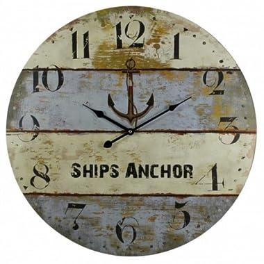 Wooden Vintage Ship's Anchor Clock 23  - Home Decor Nautical - Marine Clock -...