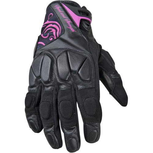 Speed and Strength Cat Out'a Hell Women's Leather/Textile On-Road Motorcycle Gloves - Black/Pink / X-Large