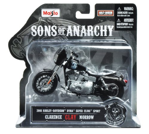 Maisto 1 18 Scale Sons Of Anarchy 2008 Hd Dyna Superglide Sport Clarence  Clay  Morrow Diecast Motorcycle