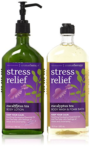 ( Bath & Body Works Aromatherapy Stress Relief Eucalyptus Tea (1) Body Lotion 6.5 Oz. & (1) Body Wash & Foam Bath 10 oz. (Packaging may vary))