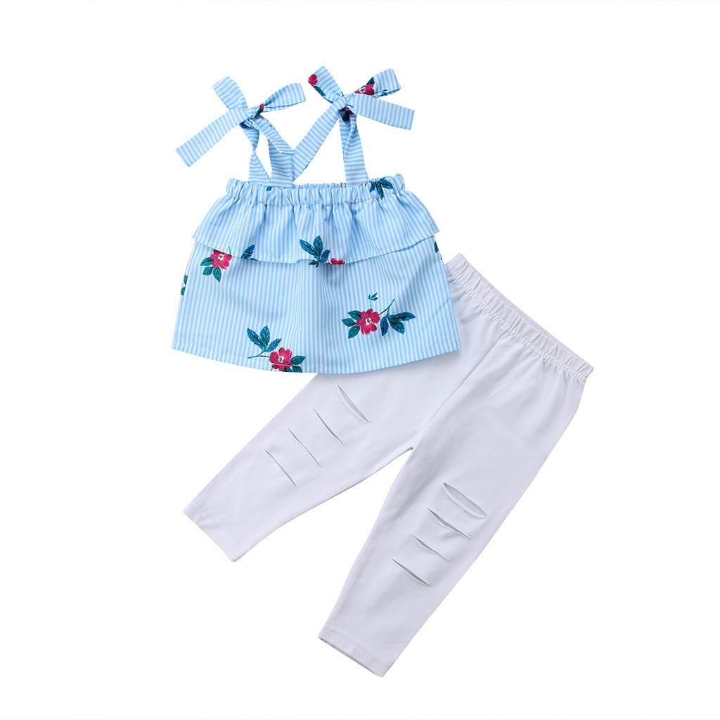 2019 Fashion Mommy &Me Baby Girl Floral Print Sleeveless Ruffles T-Shirt Tops Family Clothes Parent-Child Outfit by GIFC (Image #6)