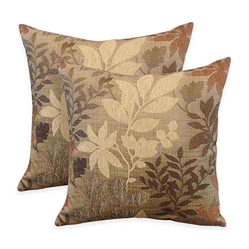 Arlee Home Fashions Bristol Chenille Jacquard Leaf Square Throw Pillow in Taupe (Set of (Arlee Pillow)