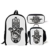 School Lunch Pen Bags,Hamsa,Arabian Art in Black and White Eastern Icon Crescent Moon and Star All Seeing Eye Decorative,Black White,Personalized Print