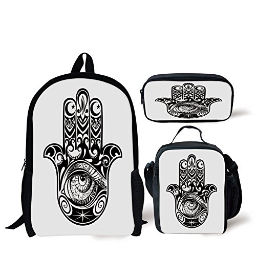 School Lunch Pen Bags,Hamsa,Arabian Art in Black and White Eastern Icon Crescent Moon and Star All Seeing Eye Decorative,Black White,Personalized Print by iPrint