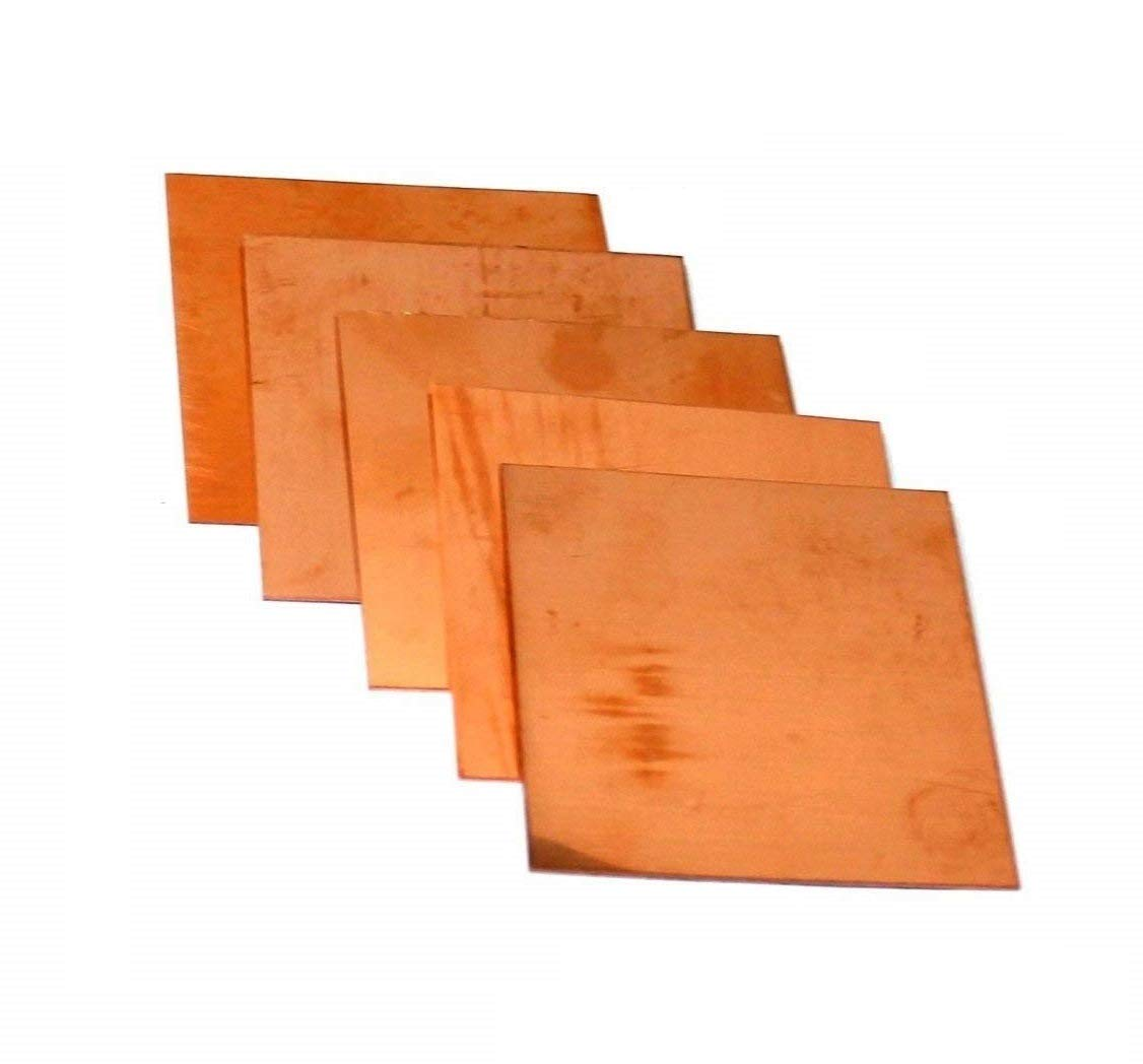 "Assorted Copper Sheet Sample Pack of 5 (3"" x 3"") 18 - 20 - 22 - 24 - 26 Ga"