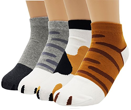 JJMax Women's Cute Kitty Cat Paws Socks with Paw Prints on Toes, Ankle 4 Pair Set, One Size,Ankle 4 Pair Set,One Size -