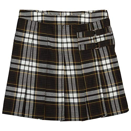 French Toast School Uniform Girls Plaid Pleated Scooter w/ Side Buckle Accent, Brown Plaid, 18-1/2 Plus