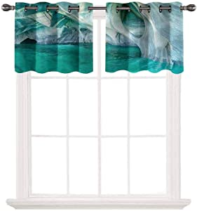 oobon Blackout Window Valance for Kitchen,Nature,Marble Caves Lake,Thermal Insulated Blackout Grommet Tier Curtain for Cafe Store,W42 by L24,2 Panels