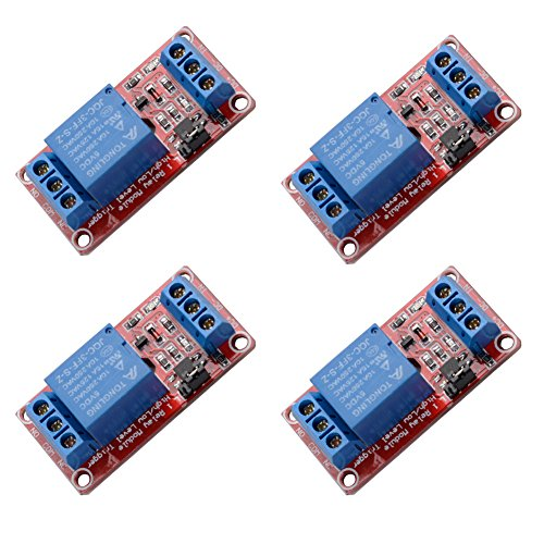 - 4 pcs DC 5V 1 Channel Relay Module Board Shield High/low Level Trigger with Optocoupler for Arduino