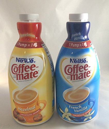 Coffee Mate Liquid Concentrate 1.5 Liter Pump Bottle - Variety 2 Pack (Hazelnut & French Vanilla)
