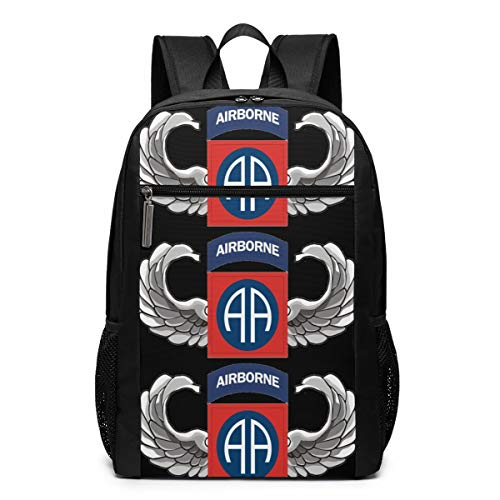 S Army 82nd Airborne Jump Wings Lightweight School Travel Backpack Casual Daypack for Business/College/Women/Men