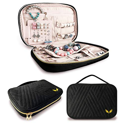 Lonsky Jewelry Travel Organizer - Best Bracelets, Earrings, Necklaces, Rings Holder - Multiple Storage Pockets with Zipper - Gift Items, Portable Travelling Accessories, Women Luggage Bags Essentials