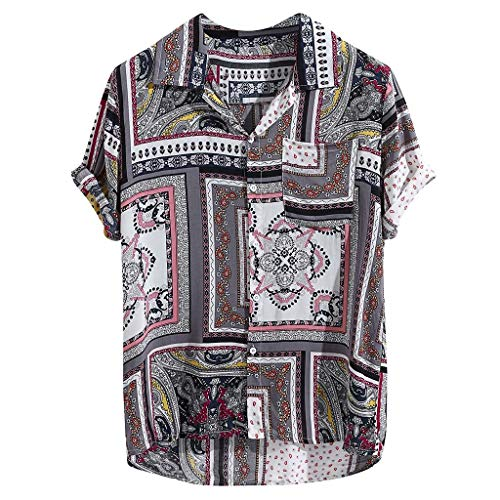 FEDULK Men's Casual T-Shirt Tee Classic Vintage Ethnic Style Lapel Collar Short Sleeve Breathable Blouse(Red, XX-Large)