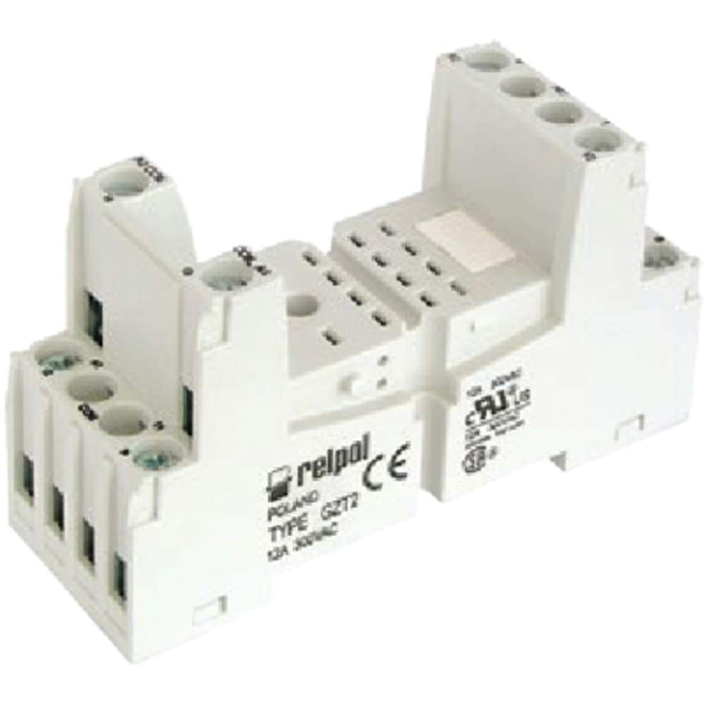 Socket; Fits R2 Series; 8 Blade; Screw terminals; 35 mm Rail/Panel Mount, Pack of 10