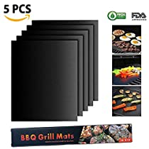 Monja BBQ Grill Mats, Non Stick Grilling Mats,Heavy Duty, Reusable,Easy to Clean FDA-Approved/PFOA-Free/Perfect for Gas, Charcoal and Electric Grills (13x15.75, Set of 5)