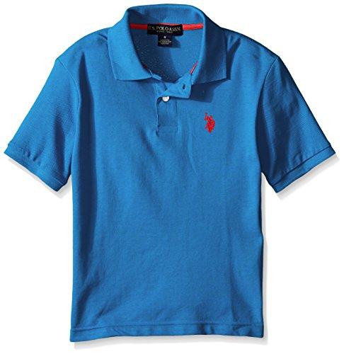 - U.S. Polo Assn. Boys' Classic Short Sleeve Solid Pique Polo Shirt, Ocean Heather, 2T