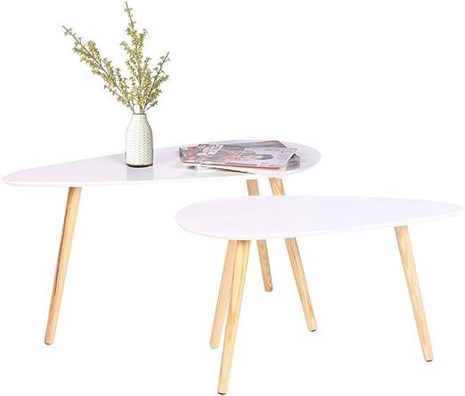 2 x Blanco de madera mesa de café sala de estar mesa juego de mesa de