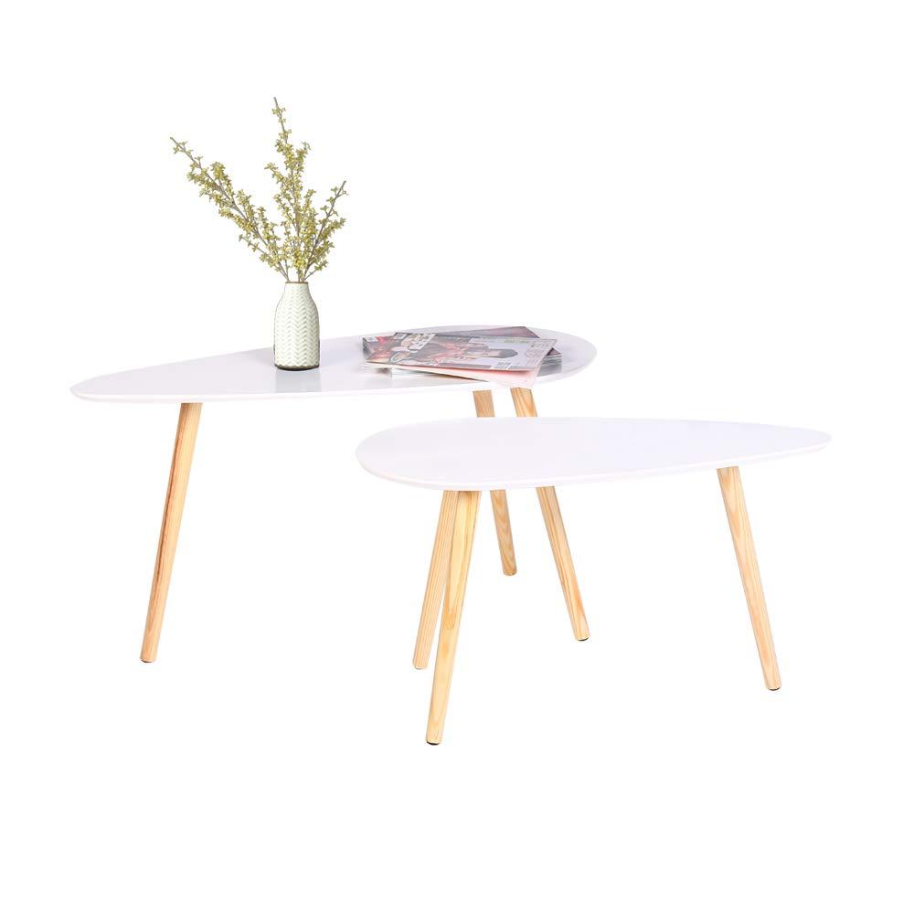 Couchtische 2er-Set Weiße Holz Sofa Tische für Wohnzimmer Runde Satztische Set Beistelltische für Balkon Lesetisch für Kinder mit B85 * T50 * H45cm / B70 * T35 * H40 cm