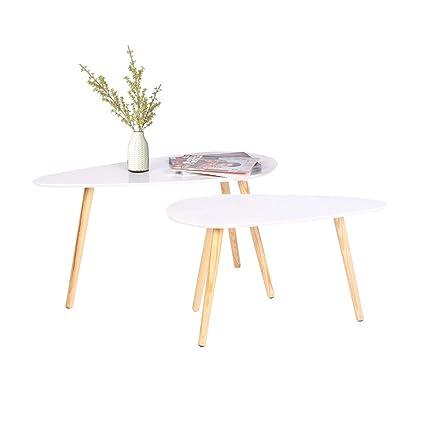 2 x bianco in legno tavolino da salotto, tavolino da caffè set ...