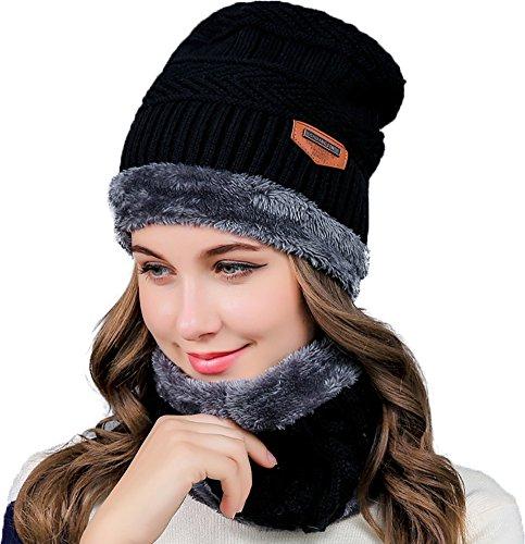 Ababalaya Women's Winter Warm Fleece Knit Beanie&Neck Scarf