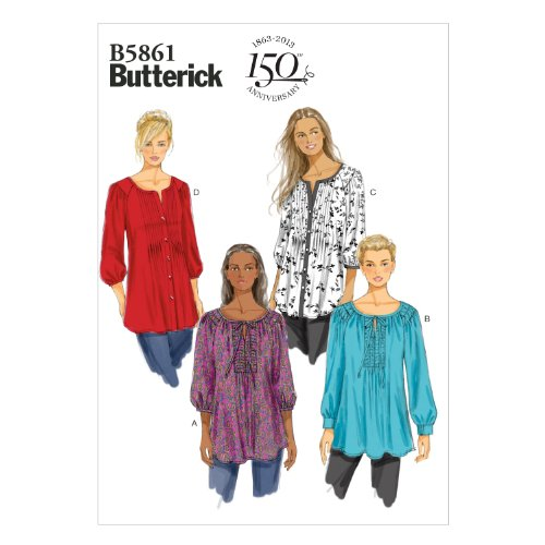 BUTTERICK PATTERNS B5861 Misses'/Women's Tunic Sewing Template, Size B5 - $19.95