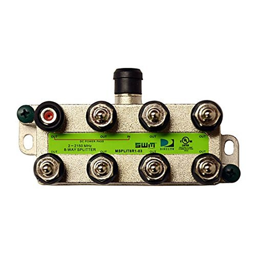 - 8 Way Splitter Wide Band Green Label Approved One Port DC Path Slim Line SWM Technology 1 Input 8 Output High Isolation Vertical Slimline Satellite Splitter Video 75 Ohm Signal