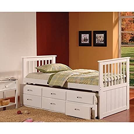 K And B Furniture Co Inc K B White Twin Size Spindle Captain Bed