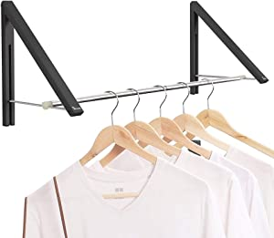 Anjuer Retractable Clothes Rack - Wall Mounted Folding Clothes Hanger Drying Rack for Laundry Room Closet Storage Organization, Aluminum, 2 Racks with Rod (Black)